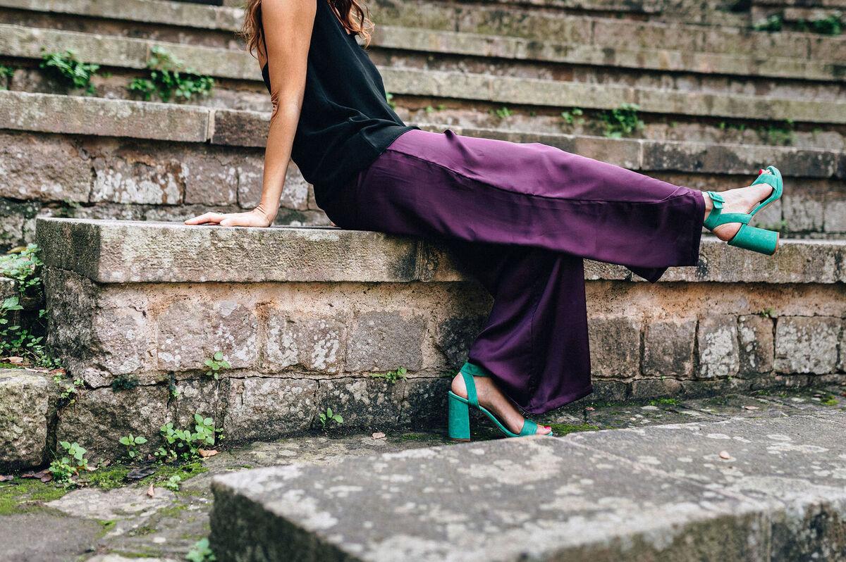 mujer  comodo elegancia fiesta moda pantalones saten