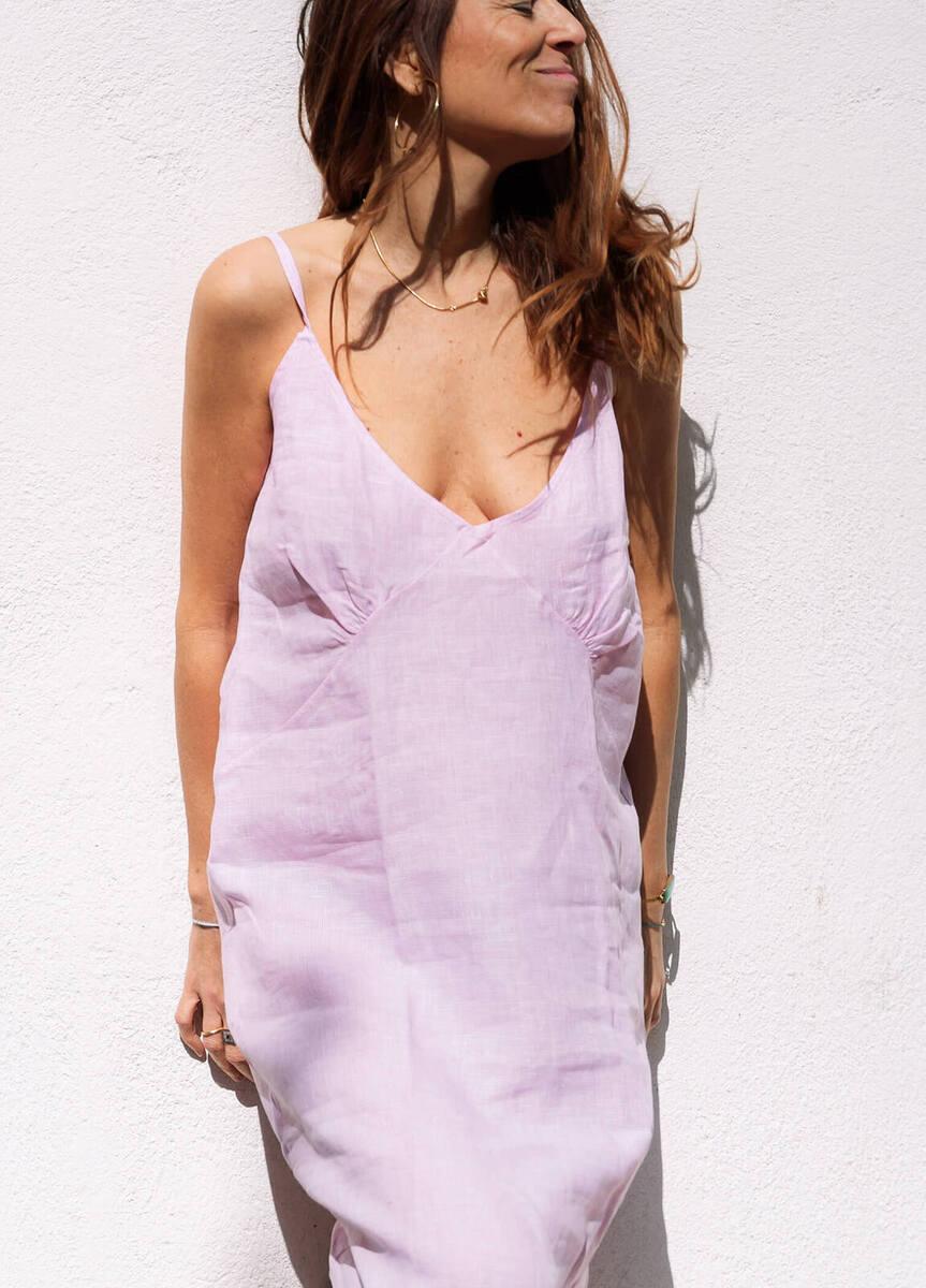 New Judith en lino orgánico! Vichy Rosa - mujer  comodo dresses lino moda organico sostenible summer sustainable vestidos