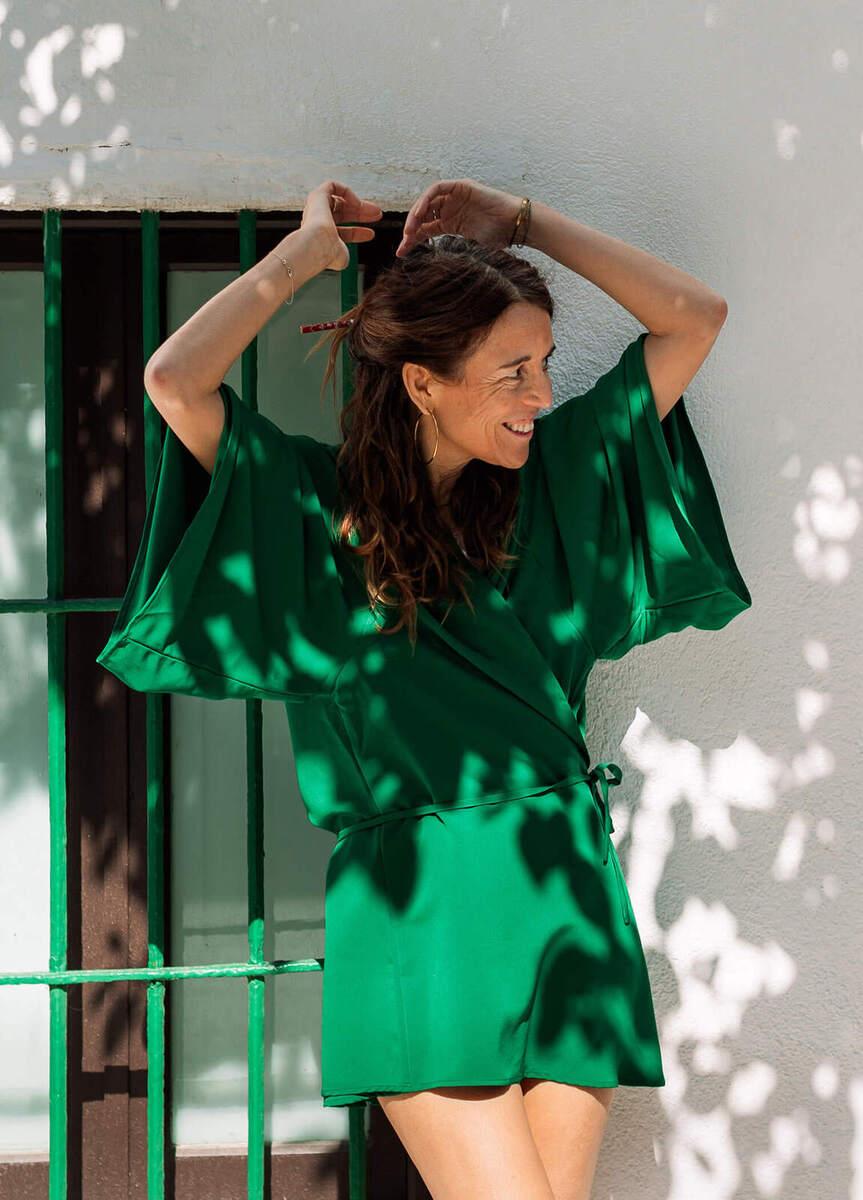 Kimono Menorca crepe verde esmeralda - mujer  comodo elegancia kimonos moda summer