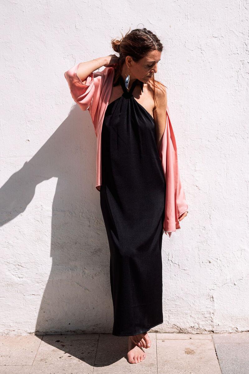 mujer  comodo dresses elegancia fiesta moda saten vestidos