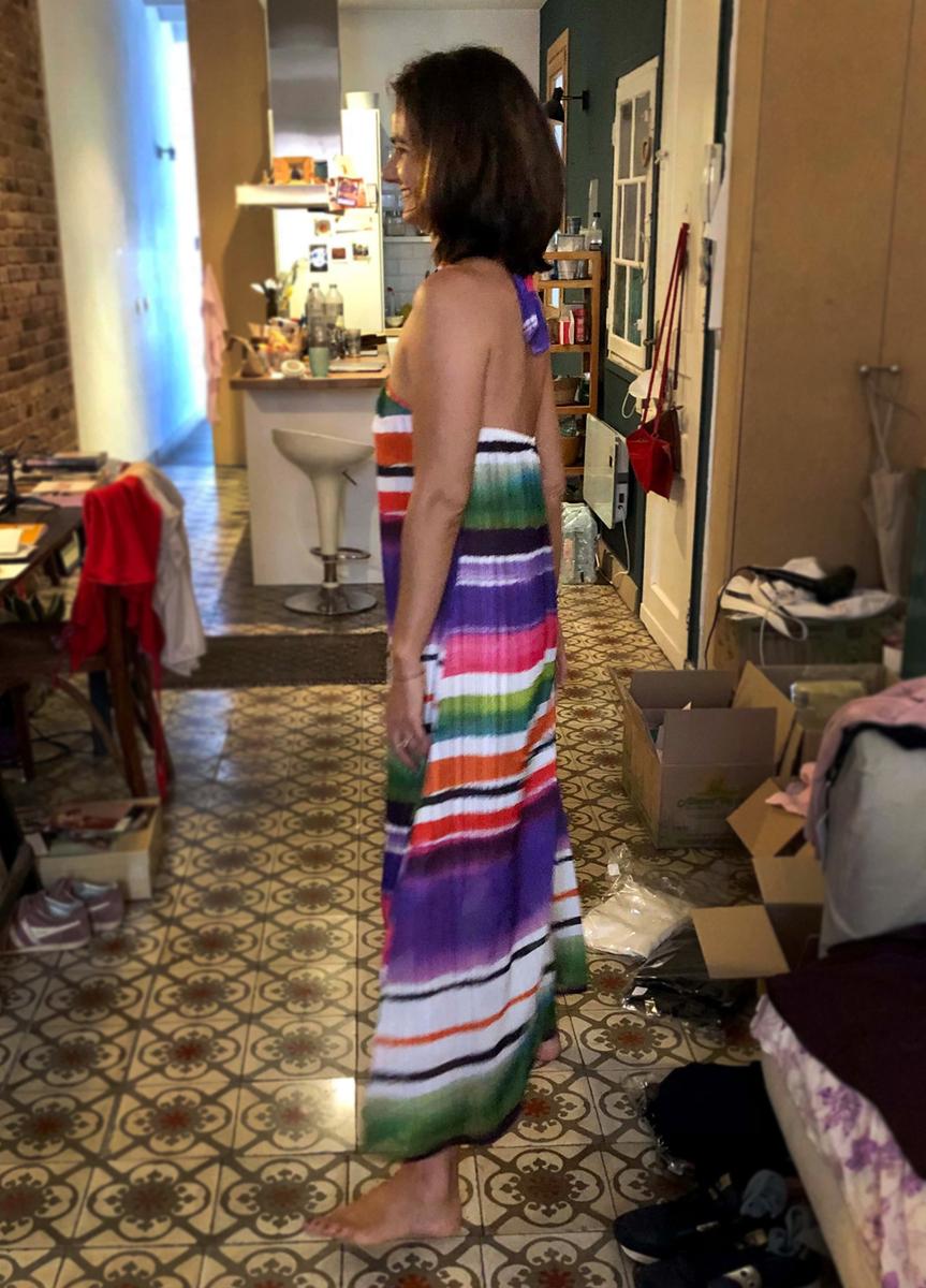 Vestido Daniela en georgette rallas colores - mujer  dresses elegancia fiesta saten vestidos
